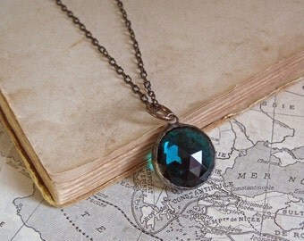Faceted Round Stained Glass Long Necklace Teal Jewelry