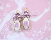 Light Amethyst & Light Purple Sabrina Vintage Glass Navette Set Stones Swarovski Crystals 18x7mm Earring Drops Connector - 2