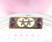 Gemini Bracelet Bar Pendant Vintage Copper Enamel Connector Zodiac Horoscope - 1