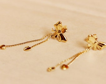Gold Bow Chain Earrings, Bow Studs, Chain Studs, Chain Earrings