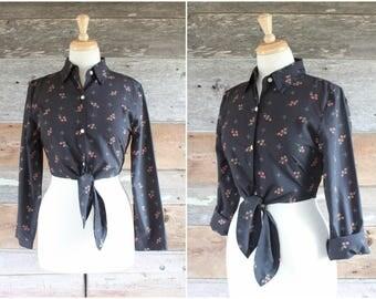 1980s cropped blouse | black floral 80s crop top | size s - m