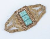 NA Style Brooch Faux Turquoise Stamped Brass Vintage