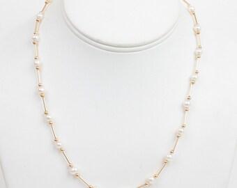 14K Gold Cultured Pearl Station  Necklace Bridal Gift Vintage