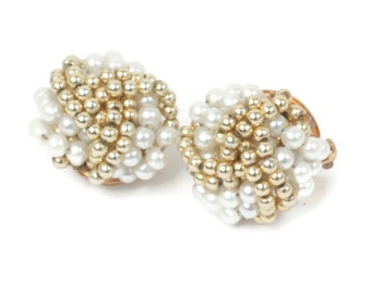 Gold and Pearl Beaded Earrings Simulated Pearl Clip Style  Vintage