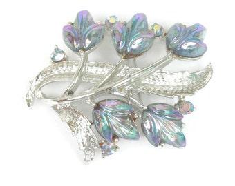 Blue Aurora Borealis Rhinestone Brooch Floral Design Vintage