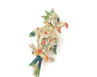 Enameled Parrot Pin Multi Color Bird Figural Vintage