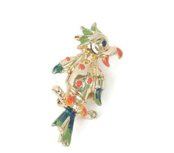 Enameled Parrot Pin Tropical Bird Figural Multi Color Vintage