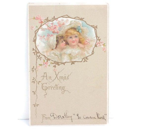 Antique Christmas Postcard Two Girls Vignette Pastels An Xmas Greeting