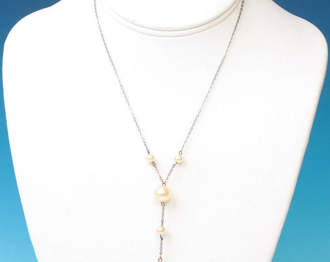 Art Deco Simulated Pearl Y Style Necklace Silver Chain Vintage