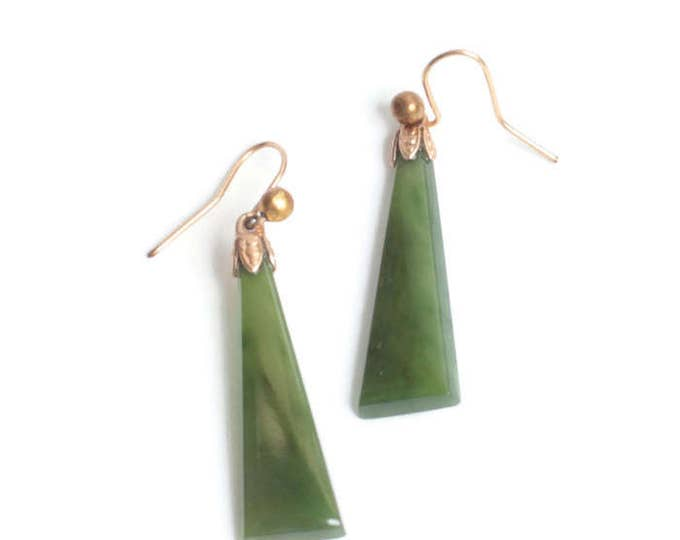 Nephrite Jade Dangle Earrings for Pierced Ears Ear Wires Vintage