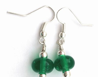 Simple Green Glass Dangle Earrings