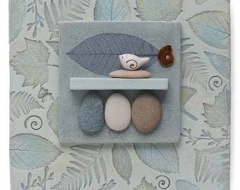 Mixed Media Wall Art,ceramic assemblage Home Decor,bird,leaves, beach stones, Wall Art ,Nature Inspired