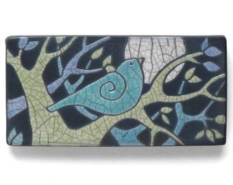 Bird,3x6 ,Tree,Ceramic Wall Art ,Aqua, red bird,Ceramic tile,handmade 3x6 inch raku fired art tile