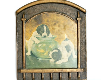 Vintage Gesso Plaque Picture Puppies With Fish Duro Craft Regal Art Company Arts and Crafts Era Wall Kids Room Decor
