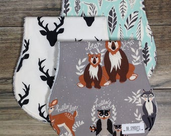 Burp Cloths Boy Burp Cloth Burp Cloth Set Organic Burp Cloths Baby Gift Burp Cloth Burp Rags Woodland Burp Cloth Burp Clothes Burp Cloths