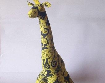 Giraffe yellow silk-screened hand painted cotton fabric yellow african wildlife stuffed animal
