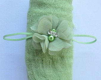 Baby Headband Apple Green Wrap Set Newborn Headband Swaddle Cheesecloth Blanket Flower Headband Chiffon Headband Knit Blanket Photo Props