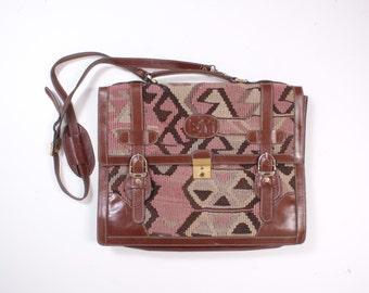 Vintage 80s KILIM BAG / 1980s Turkish Wool & Leather Briefcase Satchel with Shoulder Strap