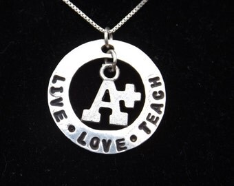Teacher necklace, Live Love Teach necklace, Gift for teacher, student teacher gift, Back to School gift, Teacher appreciation gift