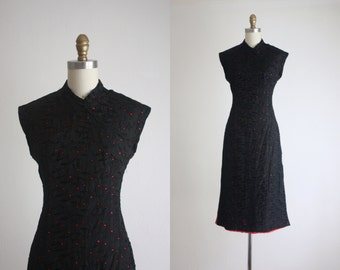 1950s cheongsam eyelet dress