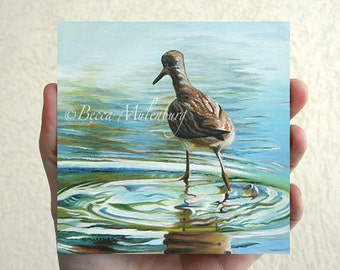 Lesser Yellowlegs bird original oil painting miniature shorebird art nature fine art