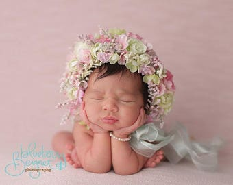 Newborn baby bonnet, flower bonnet, photo bonnet, newborn photography prop