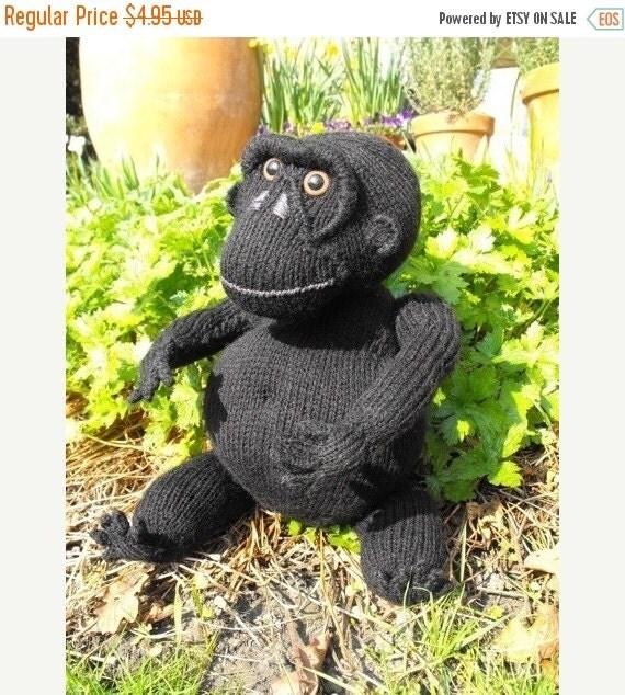 HALF PRICE SALE digital pdf download knitting pattern-Malcolm Monkey toy animal pdf download knitting pattern