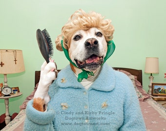 A Beautiful Start to the Day, large original photograph of Boxer dog wearing vintage sweater and brushing her hair in the morning