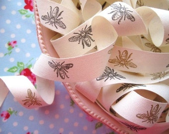 French Style Bees Ribbon - 3/4 inch - 2 Yards
