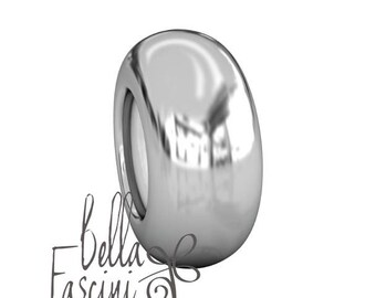 Stopper Bead Charm - Smooth Plain - Silicone Grip Core - 925 Silver - Fits Most Pandora and Compatible Brand Bracelets - BELLA FASCINI® S-71