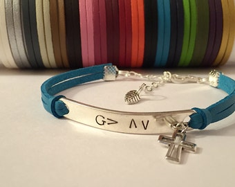 God is Greater Than the Highs and Lows leather charm bracelet. Inspirational Bracelet. Christian bracelet. Cross charm bracelet.