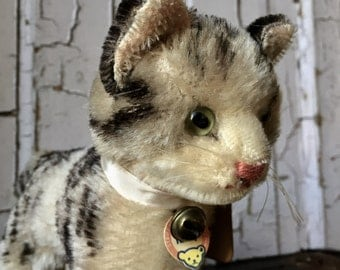 Steiff Kitten, Tabby, with original tag,early beautifully made in wonderful condition.