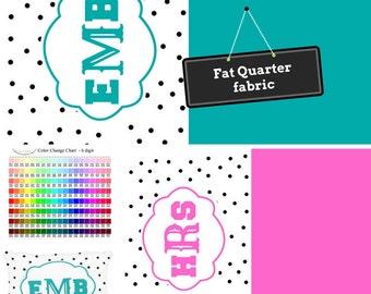 Fat Quarter Home Decor Fabric - Preppy, Shabby Chic, DIY, Monogram Custom Fabric, Trendy Polka Dot, Linen, Minky, Organic Cotton