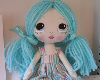 Sweet little Lollipoppet Doll...Pale Aqua Blue and Pink...Collector doll..Hand Painted..Rag Doll