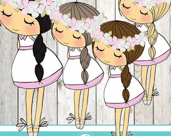 Girl with flowers clipart - COMMERCIAL USE OK