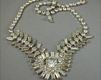Vintage Crystal Rhinestone Festoon Choker Necklace
