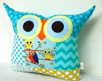 Thanksgiving /PATCHWORK /owl family owl pillow/Ready to ship(Large size)/'express shipping