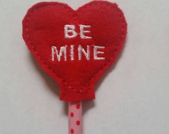 Be Mine Red Heart Pencil Toppers - Valentine's Party Favor - Party Favor - Non Food Treat - Pencil Included