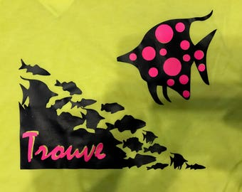 Trouve Prints Neon Nemo Spotted Fish Graphic T-Shirt