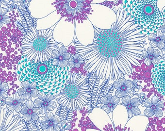 LAGUNA FLORAL Qult Fabric by Robert Kaufman, Laurel Canyon Collection, Purple and Teal Flowers, yardage, cut from bolt, cotton fabric