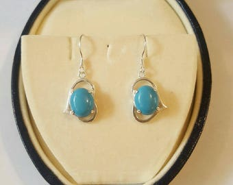 Sterling Silver and Turquoise Heart Cabochon Dangle Drop Earrings