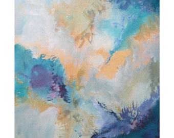 Abstract Modern Expression Art Original Contemporary Painting blue violet yellow Musing 157