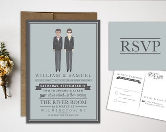 Gay wedding invite Etsy