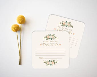 Bridal Shower Coasters // Advice Cards // Wedding Advice Cards // Bar Coasters // Rustic Wedding Coasters // Custom Paper Coasters