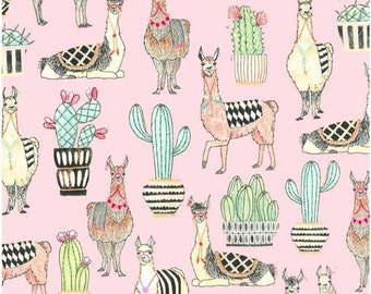 Michael Miller Fabric Lovely Llamas in Pink, Choose your cut
