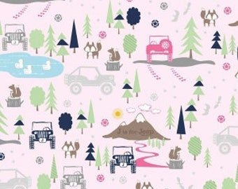 Riley Blake Fabric J is for Jeep in Pink,  choose your cut