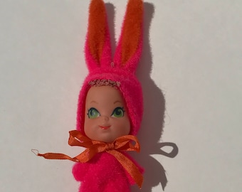 Vintage Toy Liddle Kiddles Pink Bunny with Blue Eyes