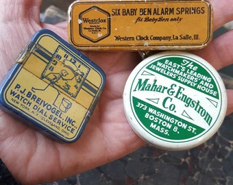 Three Vintage Watchmaker Tins from Rustysecrets