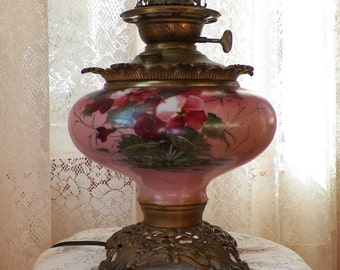 Vintage Working Gone with the Wind / GWTW Flattened Round Globe Electric Lamp, Dark Rose Pink, Flowers, Free US Shipping