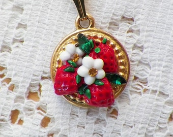 Strawberry Fields Vintage Jewelry Collage Pendant / Necklace, Green Rhinestones, White Flower Blossom / Blossoms, Red Strawberries, Summer